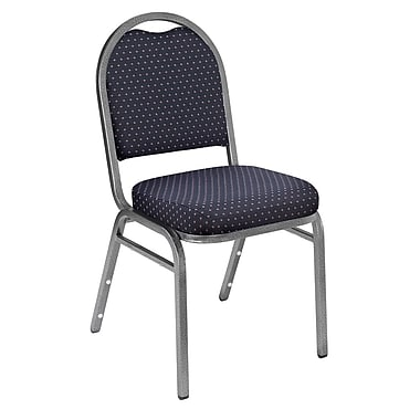NPS® Pattern Fabric Padded Dome Stack Chair, Diamond Navy/Silvervein, 4/Pack