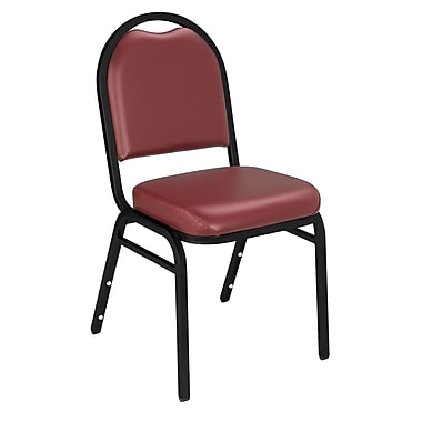 NPS® Vinyl Padded Dome Stack Chair, Pleasant Burgundy/Black Santex, 4/Pack