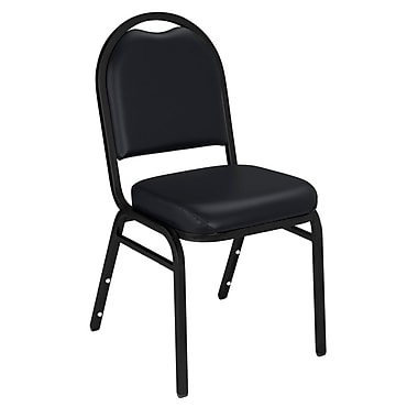 NPS® Vinyl Padded Dome Stack Chair, Panther Black/Black Santex, 4/Pack