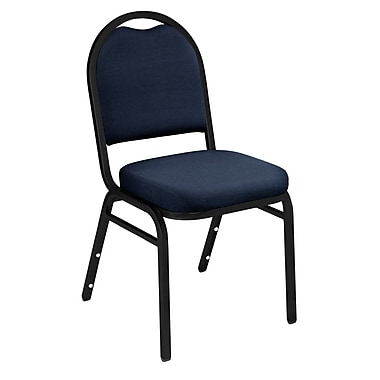 NPS® Solid Fabric Padded Dome Stack Chair, Midnight Blue/Black Santex