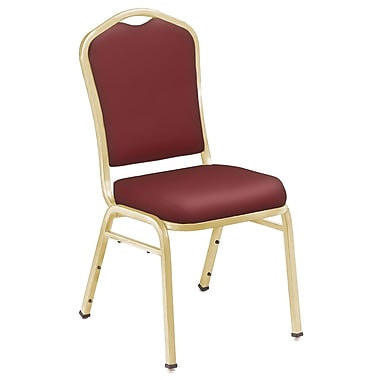 NPS® Silhouette Vinyl Padded Stack Chair, Pleasant Burgundy/Gold, 4/Pack