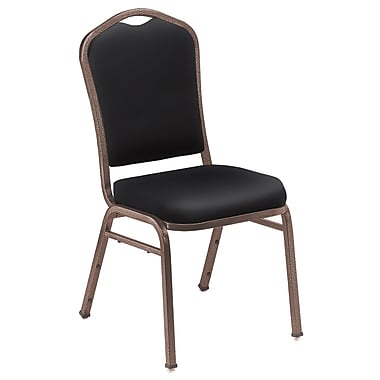 NPS® Silhouette Vinyl Padded Stack Chair, Panther Black/Coppervein, 4/Pack