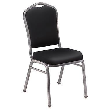 NPS® Silhouette Vinyl Padded Stack Chair, Panther Black/Silvervein, 4/Pack