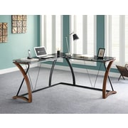 Whalen® Newport Wood and Glass L-Desk, Brown