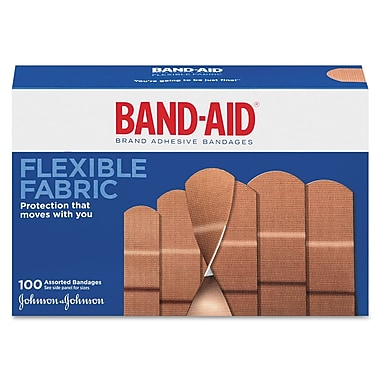 Johnson & Johnson Flexible Fabric Adhesive Bandages, 1in. x 3in., 100/Box