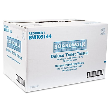 Boardwalk® Embossed 2Ply 4in. x 3in. Toilet Tissue, White, 96/Pack