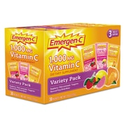 Emergen-C® Vitamin C Dietary Supplement Flavoured Fizzy Drink Mix w Pink Lemonade, Variety Pack, 0.3 oz., 30 Packets