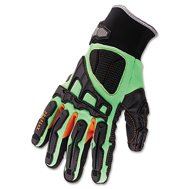 Ergodyne ProFlex® 925F(X) Dorsal Impact-Reducing Gloves, Black/Green/Orange, Large