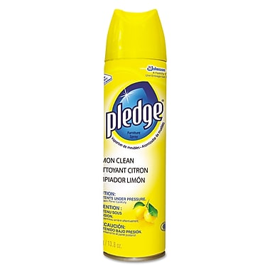 Pledge® Commercial Aerosol Clean Furniture Spray, Lemon, 13.8 oz., 6/Pack