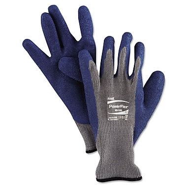 Ansell® PowerFlex® 80-100 Poly/Cotton Lining Natural Rubber Multi-Purpose Gloves, Gray/Blue, XL