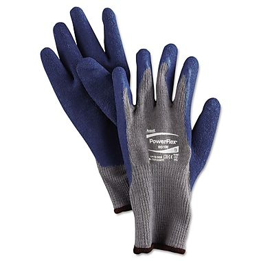 Ansell® PowerFlex® 80-100 Poly/Cotton Lining Natural Rubber Gray/Blue Multi-Purpose Gloves