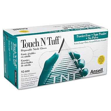Ansellpro Touch N Tuff® Powder-Free Nitrile Disposable Gloves, Teal, Large, 100/Box