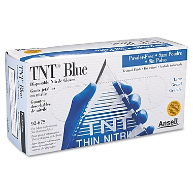 Ansellpro TNT® 100/Pack Powder-Free Nitrile Blue Disposable Gloves