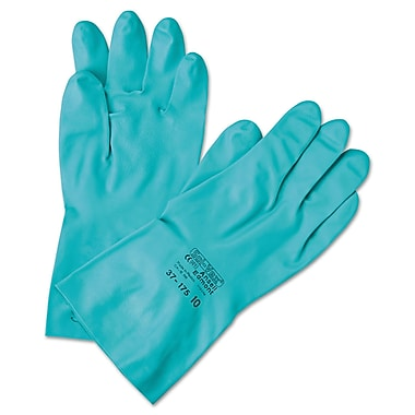 Ansell® Sol-Vex® 37-175 Flock Lining Nitrile Chemical Resistant Gloves, Green, XL
