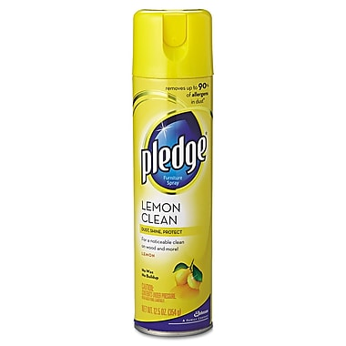 Pledge® Clean Aerosol Furniture Spray, Lemon, 9.7 oz., 12/Pack