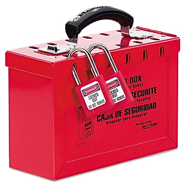 Master Lock® Latch Tight™ 498A Steel Portable Lock Box, Red
