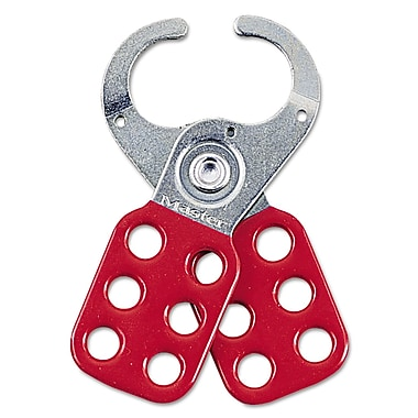 Master Lock® 421 Steel Lockout Hasp With 1 1/2in. Jaw Opening, Silver/Red