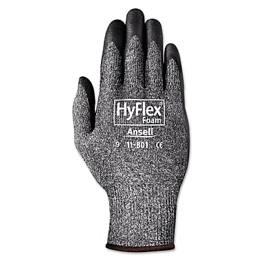 Ansell® HyFlex® 11801 Nylon Lining Foam Nitrile Coated Gloves, Dark Gray/Black, XL