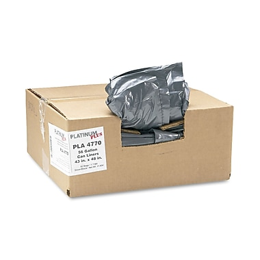 Webster Platinum Plus® 1.55 mil Low Density Can Liner, Silver/Black, 56 gal