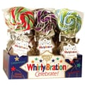 Adam & Brooks Whirly Bration Small Assorted Flavor Pops, 2.5in. dia 7in. hi, 1.75 oz., 18 Pops/Order