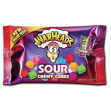 Warheads Sour Chewy Cubes Bag-Display, 2.5 oz., 15 Bags/Order