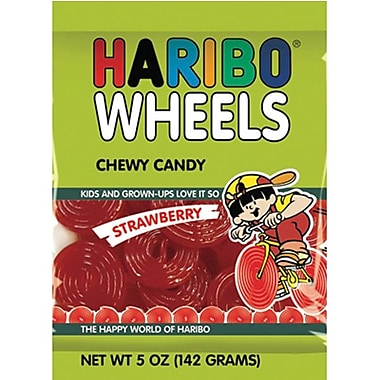 Haribo Strawberry Wheels, 5 oz. Peg Bag, 12 Packs/Order