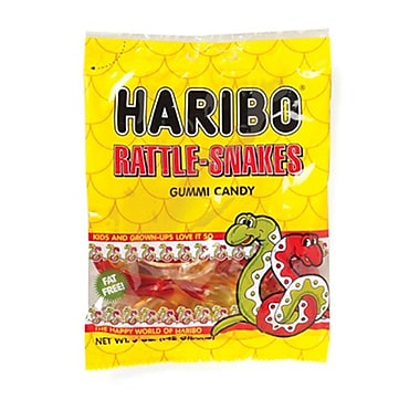 Haribo Gummi Rattlesnakes, 5 oz. Peg Bag/12 Packs/Order