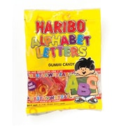 Haribo Gummi Alphabet Letters, 5 oz. Peg Bag/12 Packs/Order