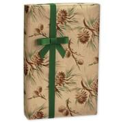 "Pinecones in Kraft Gift Wrap, Green/Brown/Gold, 24"" x 417'"