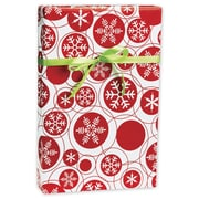 Snowflake Dots Gift Wrap, Red/White, 24 x 417'