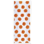 "Polypropylene 11.5""H x 5""W x 3""D Jack-O-Lantern Cello Bags, Orange on White, 100/Pack"