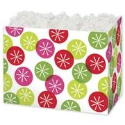 Festive Dots Gift Basket Box, Green, 6 3/4 x 4 x 5
