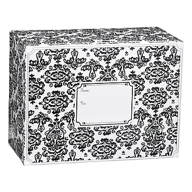 Medium Damask Mailing Box, Black, 12