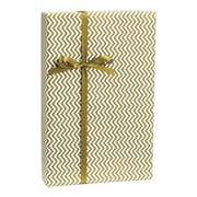 Chevron Gift Wrap, White/Gold, 30 x 100'