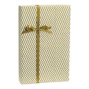 """Chevron Gift Wrap, White/Gold, 30"""" x 100'"""