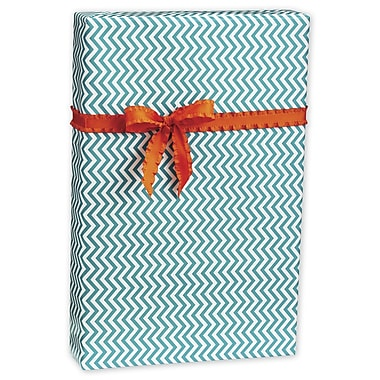 Chevron Gift Wrap, White/Aqua, 30in. x 417'