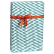 Chevron Gift Wrap, White/Aqua, 30 x 417'