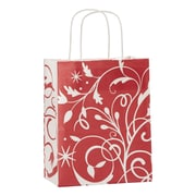 "Festive Filigree Shoppers, White/Red, 8 1/4"" x 4 3/4"""