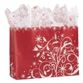 Festive Filigree Shoppers With Mini Pack, White/Red, 16in. x 6in.