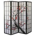Ore International® 4 Panel Plum Blossom Room Divider, 70in. x 60in., Black