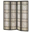 Ore International® 4 Panel Floral Scenery Shoji Screen Room Divider, 70in. x 60in., Black
