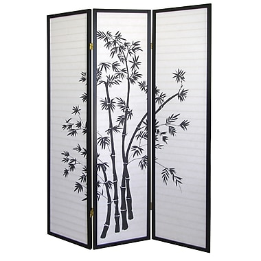Ore International® 3 Panel Bamboo Room Divider, 70in. x 50in., Black