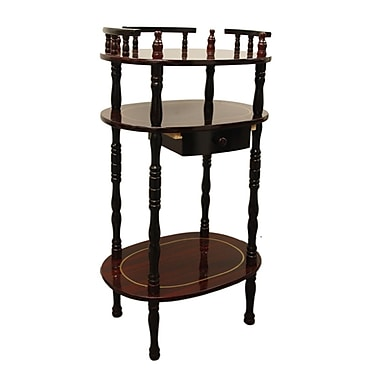 Ore International® 28in. x 12in. x 15 1/2in. Composite Wood 3 Tier Phone Table, Rich Cherry