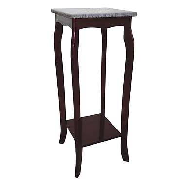 Ore International® 30in. x 12in. x 12in. Composite Wood Phone Entry Table With Marble Top, Cherry