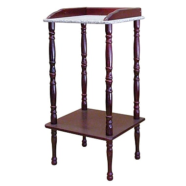 Ore International® 27in. x 12in. x 13in. Composite Wood Phone Table With Marble Top, Rich Cherry