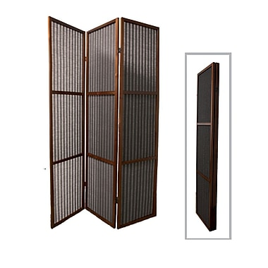 Ore International® 3 Panel Rattan Room Divider, 70 1/4in. x 47in., Walnut
