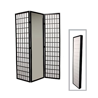 Ore International® 3 Panel Mirror Room Divider, 70 1/4in. x 47in., Black