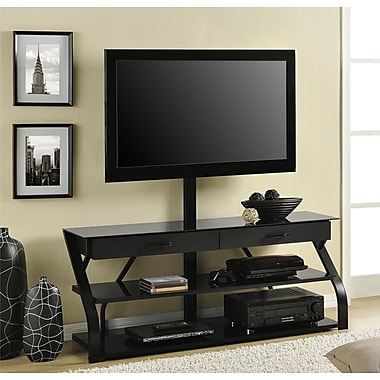 Altra Furniture Metal/Glass TV Stand with Mount, BLACK