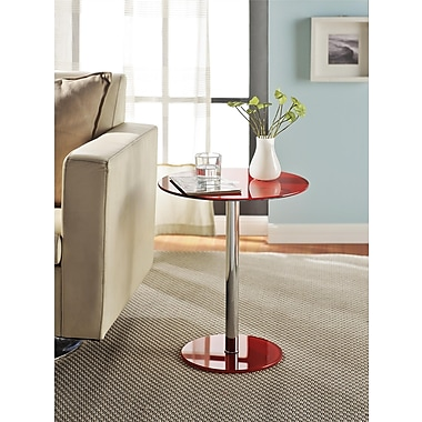 Altra Furniture Round Chrome Accent Table, Red Finish, RED
