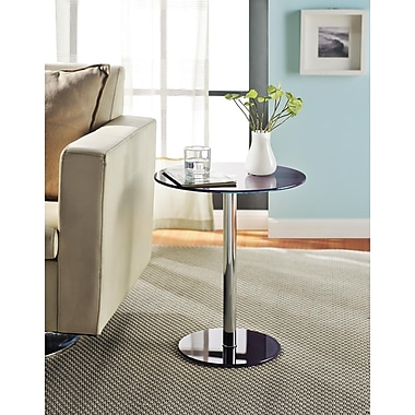 Altra Furniture Round Chrome Accent Table, Purple Finish, PURPLE